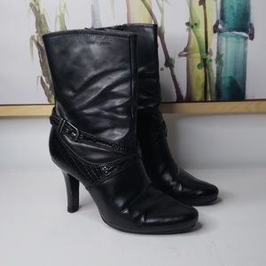 Cole Haan Mid Calf Black Leather Bootie Size 10